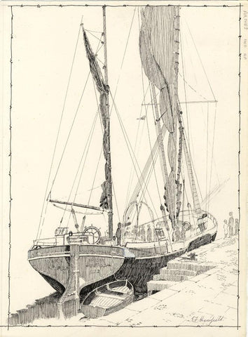 E.F. Hearfield, Thames Sailing Barge Hydrogen, Marygate, York -1980s ink drawing