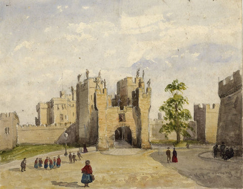 Front Portal, Alnwick Castle - Original mid-19th-century watercolour painting