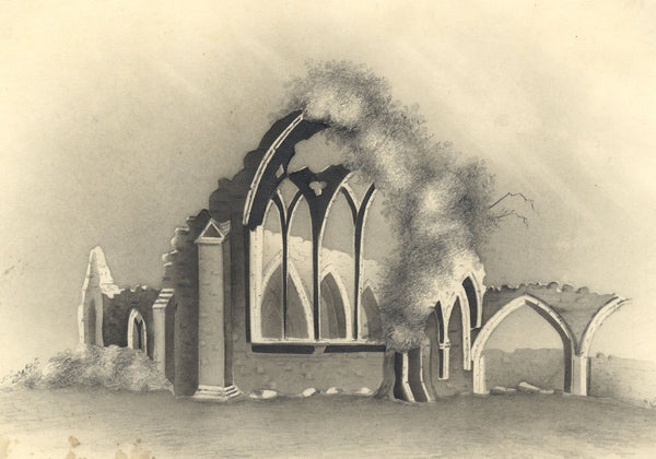 Castledermot Abbey, County Kildare - Early 19th-century graphite drawing