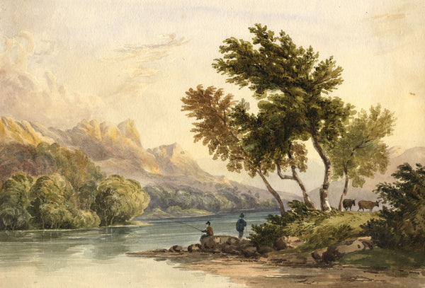 Anglers on Derwentwater, Lake District - Mid-19th-century watercolour painting