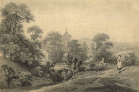 George Holmes, Pastoral Scene with Church & Figures, Ireland -c.1797 watercolour