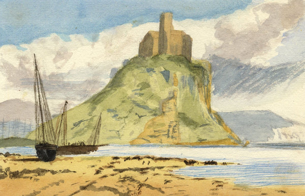 Mildred Robinson, Lindisfarne Castle, Holy Island - 1875 watercolour painting