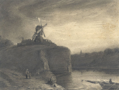 Alfred Swaine Taylor, Rembrandt's Mill - Original c.1829 graphite drawing
