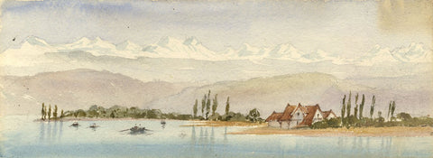 Emily Bruce, Lake Lucerne, Switzerland - Original 1873 watercolour painting