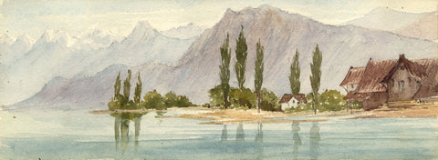 Emily Bruce, Cypress Trees, Lake Lucerne, Switzerland -1873 watercolour painting