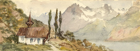 Emily Bruce, Church, Near Axenstein, Switzerland - 1873 watercolour painting