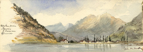 Emily Bruce, Pilatus from Bauen, Lake Lucerne - 1873 watercolour painting