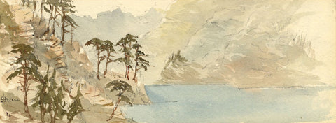 Emily Bruce, View from the Axenstrasse, Switzerland - 1873 watercolour painting