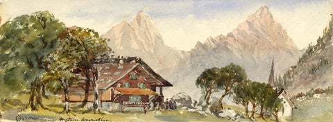 Emily Bruce, Mythen Mountain, Axenstein, Switzerland - 1873 watercolour painting