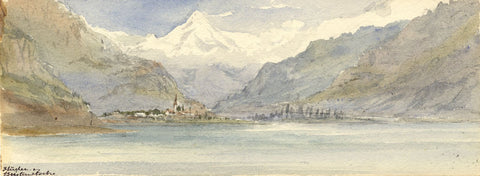 Emily Bruce, Flüelen towards the Bristenstock, Switzerland - 1873 watercolour