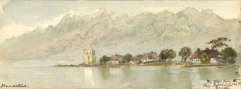 Emily Bruce, Schnitzturm at Stansstad, Switzerland - 1873 watercolour painting