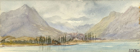 Emily Bruce, Interlaken from Lake Thun, Switzerland - 1873 watercolour painting