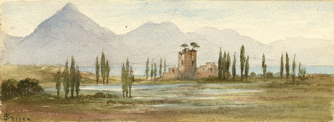 Emily Bruce, Unspunnen Castle Interlaken, Switzerland -1873 watercolour painting