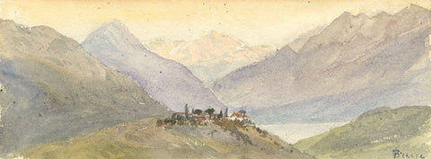Emily Bruce, Chexbres Vevey, Switzerland - Original 1873 watercolour painting