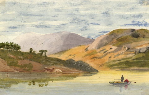 Mildred Robinson, Mountain Lake with Rowing Boat - 1875 watercolour painting