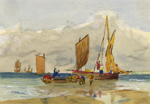 Mildred Robinson, Beached Sail Boats - Original 1876 watercolour painting