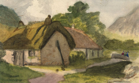 Gertrude Robinson, Thatched Cottage with Figures - 1876 watercolour painting