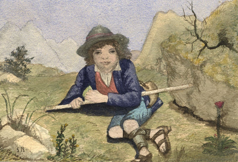 Gertrude Robinson, Swiss Alpine Shepherd Boy -Original 1878 watercolour painting