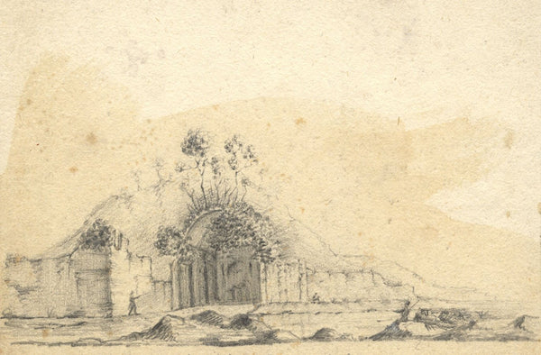 Alfred Swaine Taylor, Grotto of Nymph Egeria, Rome - 1829 graphite drawing
