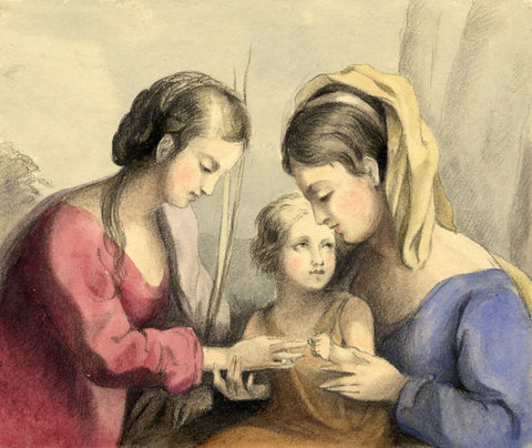 Lady Susan Harriet Holroyd, Virgin & Child with St Catherine -c.1845 watercolour