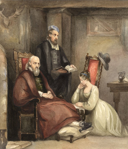 Lady Susan Harriet Holroyd, Castle Interior with Figures - c.1845 watercolour
