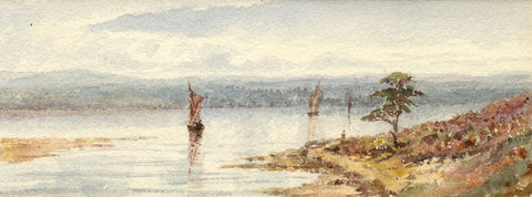 Emily Bruce, Sailing Boats on Estuary, Bournemouth - 1886 watercolour painting