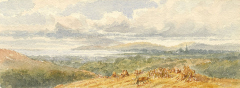 Emily Bruce, Coastal Landscape View near Bournemouth - 1886 watercolour painting