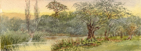Emily Bruce, River Kennet, Manton, Marborough - 1886 watercolour painting