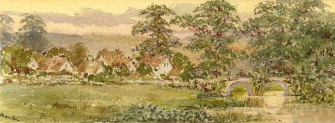Emily Bruce, Manton on the River Kennet, Marborough - 1886 watercolour painting