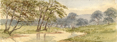 Emily Bruce, River Kennet near Manton Farm - 1886 watercolour painting
