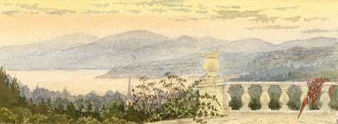 Emily Bruce, Coastal View from Terrace, Torquay - 1886 watercolour painting