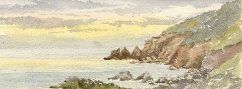 Emily Bruce, Coastal Cliffs near Torquay, Devon - 1886 watercolour painting