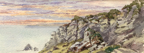 Emily Bruce, Coastal Rocks near Torquay, Devon - 1886 watercolour painting