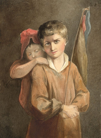 Lady Susan Harriet Holroyd, Boy with Cabbage Nets, Reynolds - c.1845 watercolour