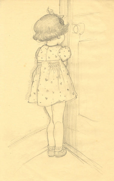 Vera Furneaux-Harris RMS, Young Girl in the Corner - 1930s graphite drawing