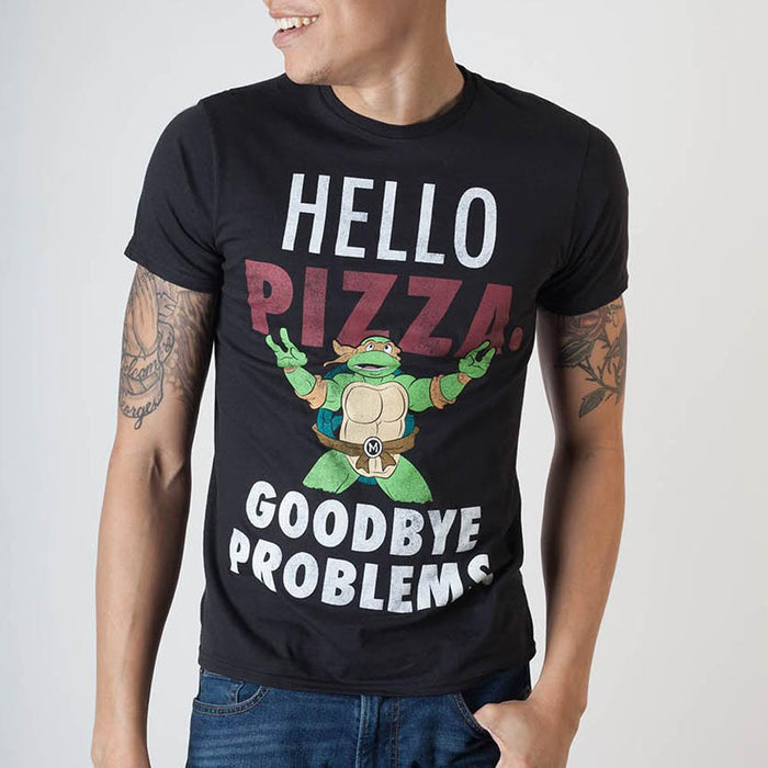 Teenage Mutant Ninja Turtles Hello Pizza Black T-Shirt - Alluforu