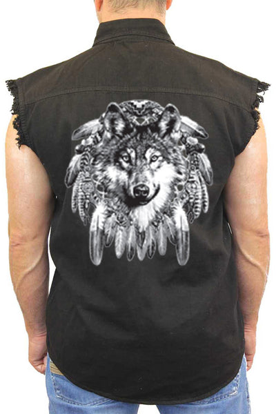 Men's Sleeveless Denim Shirt Indian Wolf Biker Vest