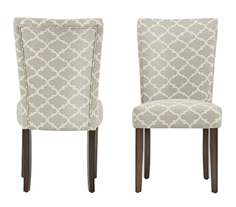Modern Light Gray Fabric Moroccan Quatrefoil Pattern Parsons Style Dining Chairs | Wood Finish Wooden Legs - Set of 2