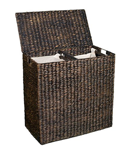 BirdRock Home Water Hyacinth Laundry Hamper with Divided Interior