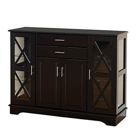 Mission Style Buffet with Glass Doors in Black Finish