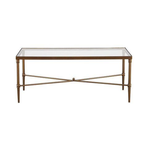 Elegance Antique Bronze 44 x 24 Coffee Cocktail Table with Glass Top