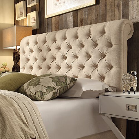 Modern Beige Linen Upholstered Rolled Top Button Tufted Chesterfield King Headboard