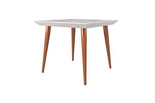Contemporary Modern Glass Top Beveled Square Dining Table with Two Tone Splayed Wood Legs (Off White Marble Finish)