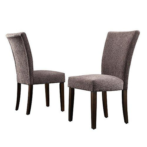 Modern Dark Gray Chenille Parsons Style Dining Chairs | Wood Legs - Set of 2