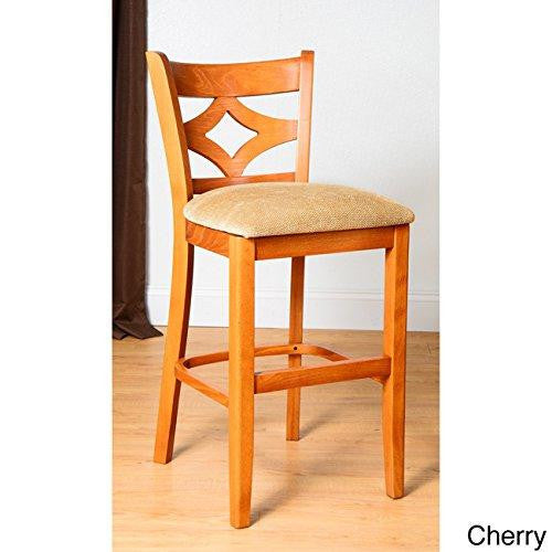 Contemporary Solid Wood Upholstered Seat Diamond Back Counter Stool (Cherry)