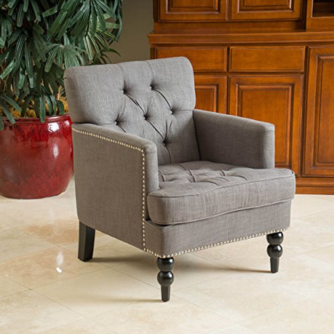 Mid Century Style Gray Linen Button Tufted Upholstered Accent Armchair with Espresso Legs with Metal Silver Nailheads
