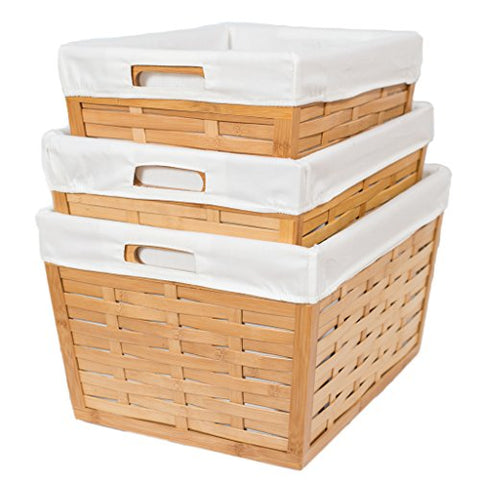 BirdRock 3 Piece Bamboo Nesting Baskets | Environmentally Friendly Storage | ...