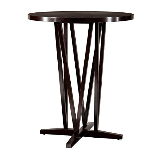 Contemporary Espresso Wood Bar Table with Intricate Base