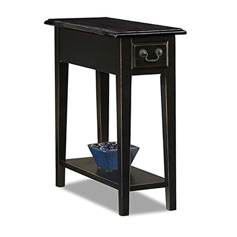 Country Style Narrow Nightstand Rectangle Wooden Black Chair Side Table with Storage Drawer