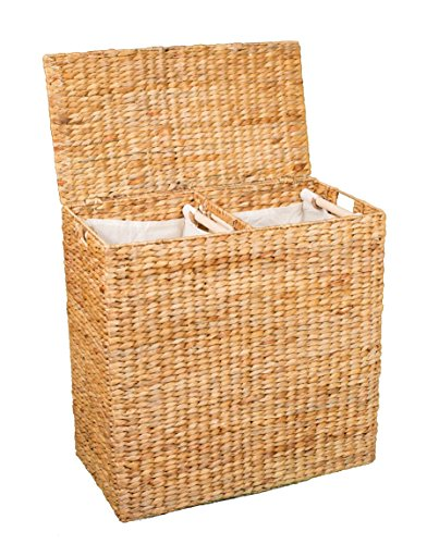 BirdRock Home Water Hyacinth Laundry Hamper with Divided Interior (Natural) |...